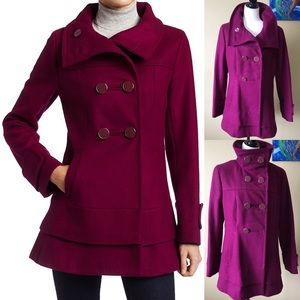 Kenneth Cole Raspberry Tiered High Collar Peacoat